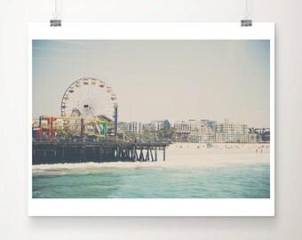 santa monica pier photograph california photograph pacific ocean photography beach photograph ferris wheel print  beach decor pastel