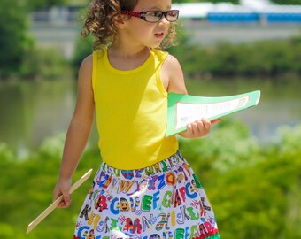 A is for apple  Skirt ( 18 mos, 24 mos,  2T, 3T, 4T, 5 ,6, 7)