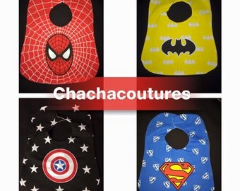 New! Ready to ship! Super Hero Superhero Baby Bib Superman Batman Captain America Spiderman Avengers Baby gift