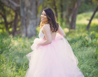 Pink Full length tulle skirt with lining ,  photo prop, adult tulle skirt,  Wedding skirt, bridal skirt