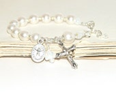 Baby's Rosary Bracelet, Holy Spirit & Holy Family Medal / Swarovski® Pearls