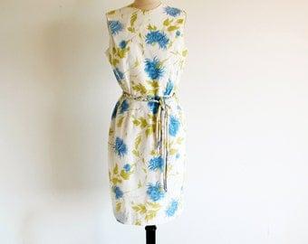 Vintage 50s 60s Flower Print Dress, Sleeveless Sheath
