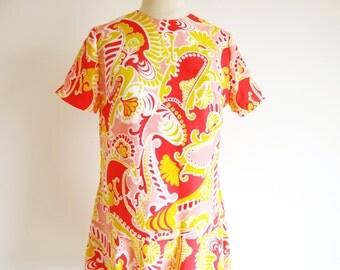 Vintage 1960 Psychedelic Dress, Mod Dress, Drop Waist Dress, 60s Party Dress, Vintage Summer Dress, Free shipping