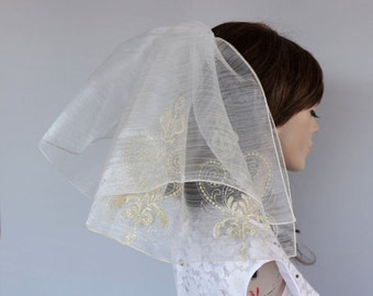 Gold Embroidered Tulle Flyaway Veil 2 Tiers Blusher Bridal Hair Unconventional Alternative Romantic Wedding First Girl Holy Communion Veil