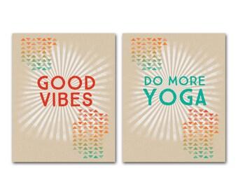 Retro Inspirational Poster Yoga Good Vibes Art Print Do More Yoga Good Vibes Digital Art Print Yoga Studio Decor Yoga Mindful Positive