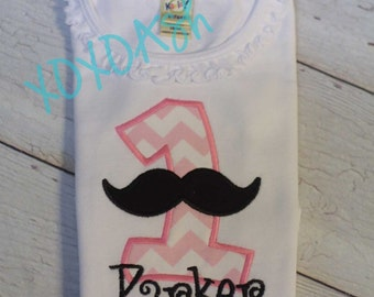 Girls Mustache Shirt Birthday Alpha Light Pink--ANY letter or initial--Name included-- Embroidered shirt or bodysuit