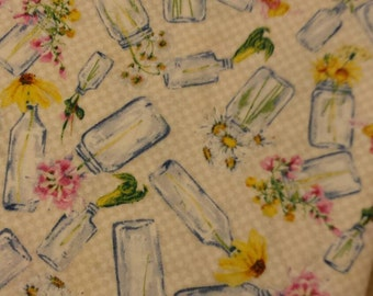 SALE...1 yard Quilt Minnesota 2014...bottles on creamy white designed by Barb Tourtillotte for Clothworks