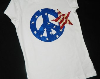 Vintage red white and blue patriotic flag 4th of July  blue star peace sign shirt, girl toddler baby tween NB - 16