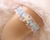 Sale (Sale) Wedding Garter Starfish Blue Garter Toss Garter / Garter Belt / Garder/ Something Blue/ Beach Wedding