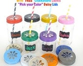 "Plastic Mason Jars w/ ""FREE"" Chalkboard Labels / 10 Plastic Jars, 10 Daisy Cut Jar Lids & 10 Labels /  Mason Jar Favors / Party Favor Jars"