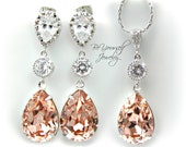 Swarovski Crystal Vintage Rose Jewelry Set Bridal Soft Pink Teardrop Earrings Bride Necklace Blush Pale Pink Bridesmaid Gift Wedding Jewelry