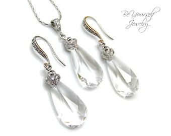 Clear Crystal Bridal Earrings Teardrop Bride Necklace Swarovski Crystal Wedding Jewelry Bridesmaid Gift Cubic Zirconia Bridal Accessories CZ