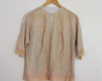 1970s Vanity Fair Pajama Top Baby Blue Cream Lace Button Front Womens Vintage Medium
