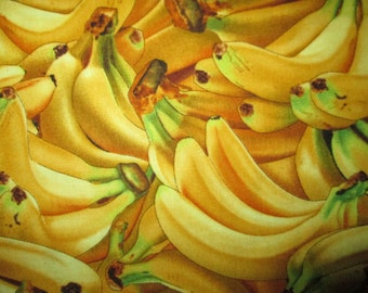 Banana Realistic Bananas Food Cotton Fabric Fat Quarter or Custom Listing