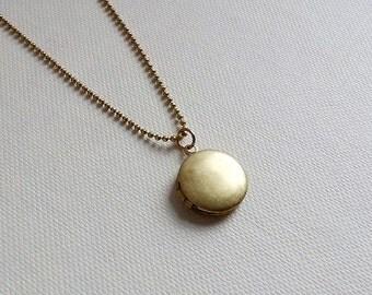 Locket Necklace. Brass Locket. Keepsake Necklace. Small Locket. Bohemian. Vintage Locket. Long Necklace. Round Small Locket