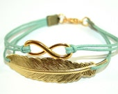 Eternity Infinity & Feather Waxed Cord Bracelet goldcolored - friendship for ever twin sister best friend besties bff cousin gift jewelry