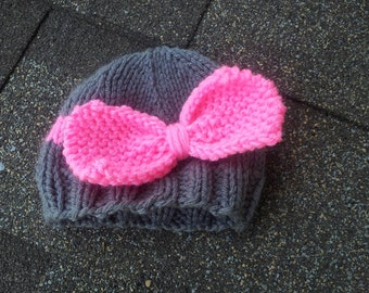 RTS Newborn Bow Hat, Newborn, Photo Prop, Infant Hat, Girl Hat, Knit Photo Prop,