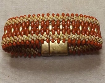 Terra Cotta and Gold Kumihimo Cuff Bracelet, handmade Kumihimo Cuff Bracelet