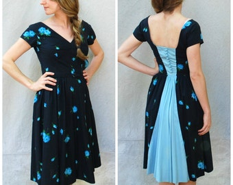 1950s summer cotton day dress - 50s navy floral Claymore Jr. Original New York dress
