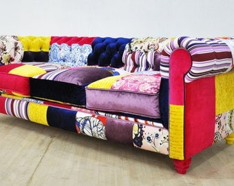 Chesterfield patchwork sofa - color waterfall