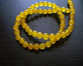 Jade Beads Gemstone Yellow Round 6mm