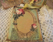 Beautiful  Shabby Chic Style Gift Tags  Roses  Gold Ribbon  Circle Gold Frame For Gift Giving And Scrapbooking