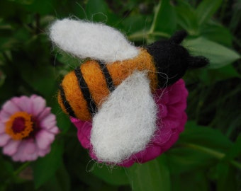 Needle Felted Honey Bee / Wool Insect Figurine / Waldorf Nature Table Summer Decoration / Soft Sculpture Toy Bee / Yellow and Black Ornament