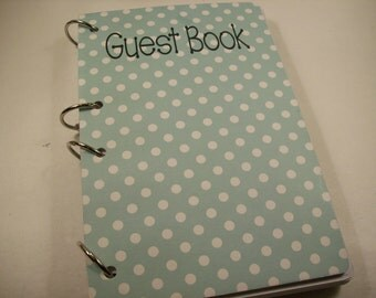 Guest Book, First Birthday, Party Sign in Book, Baby Shower Guest Book, Birthday Party Guest Book, Robins Egg Blue Dots