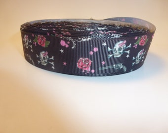 "1"" Skulls grosgrain  5 yards"