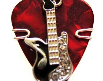 Red Pick with a Black Guitar Pick Charm - Guitar Pick Jewelry