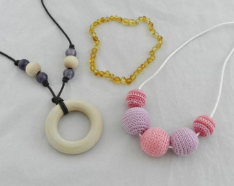 Teething Necklace and Nursing Necklace Crochet Wood Amber Gift Set