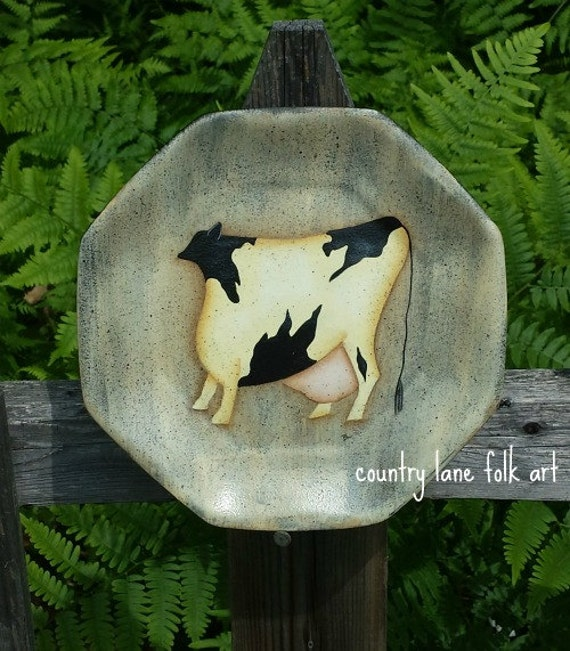 Primitive cow plate, decorative plate, holstein cow, primitive home decor, cow painting , cow decor, black and white cow, farm animal,