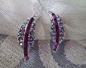 Vintage Clip Earrings Leaf Design Rhinestones Purple Blue Aurora Borealis