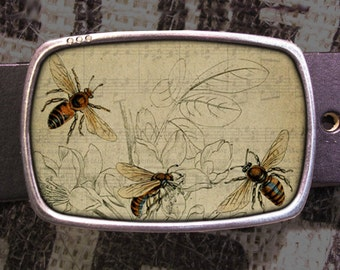 Busy Bees Belt Buckle, Vintage Inspired, Shabby Chic 605