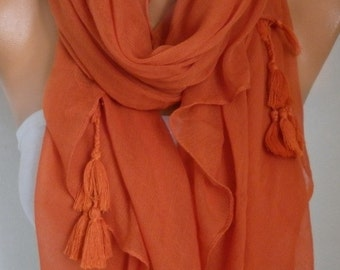 Burnt Orange Cotton Tassel Scarf, Halloween Gift, Fall Fashion,Shawl, Cowl Oversized Wrap, Gift Ideas For Her, Women Fashion Accessories