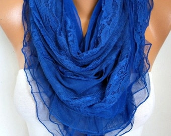 Royal Blue Lace Scarf, Wedding Shawl , Hanukkah Gift, Bridal Scarf, Bridesmaid Gifts, Gift Ideas For Her, Women Fashion Accessories