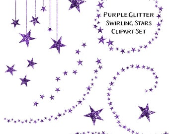 80% OFF SALE Sparkling Purple Glitter Star Clipart, Swirling Stars Clip Art, Instant Download, Commercial Use Glitter Clipart