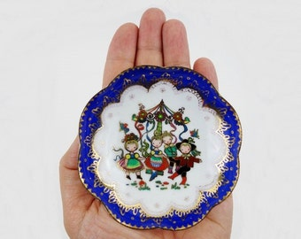 Vintage Folk Enamel Ring Dish from Steinböck Austria in Royal Blue, White and Gold