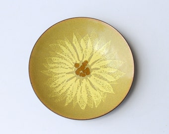 Enamel Trinket Dish with Abstract Yellow and Amber Flower Design - Ring Dish