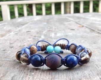 Stellar Dream Shamballa Bracelet, Natural Stone, Beaded Bracelet, Gemstone Bracelet, Elements of Nature, Rainbow, Tiger Eye