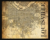 Louisville City Map - Louisville Street Map Vintage - Tile Map - Sepia Grunge
