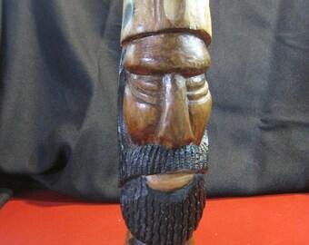 Vintage Hand-Carved Viking Warrior Statue / Bust