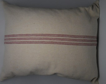 French Grain Sack Pillow,  Red Stripe,  French Farmhouse, Shabby Chic, INSERT INCLUDED
