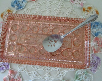 Glass Cranberry Tray with Serving Spoon  Peach Bellini   Indiana Glass