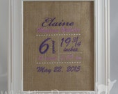 Personalized Birth Announcement Embroidered Subway Art