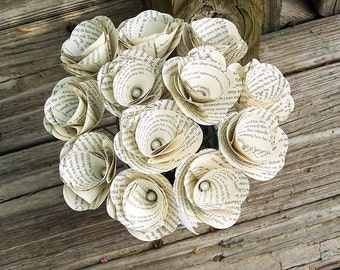 12 Book Flowers, Pride and Prejudice Flowers, Paper Roses,Dozen Paper Stem Roses,Eco Wedding Flowers, DiY Wedding Flowers(ITEM:TPG60)