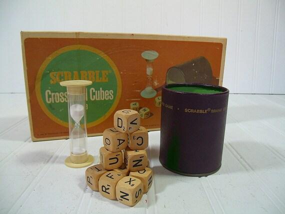 Vintage Scrabble CrossWord Cubes Game Retro by DivineOrders