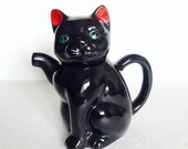 Black Cat Kitten Teapot Collectable - Vintage gift Collector - Bone China - Kitsch Kitty Collector Collectable Tea Pot