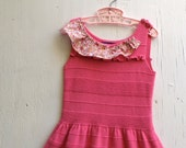 sweetest pink lace autumn party girl eco upcycled sweater sleeveless birthday dress