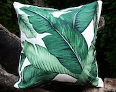 One Dark Green Tropical Jungle Zipper Pillow Cover Leaves Outdoor Pillow Dark Green Banana leaf 18x18 Lumbar Martinique Pillow cover 253